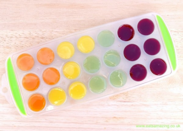 All natural - no food colourings - fruity rainbow ice cubes from Eats Amazing UK - Summer fun for kids