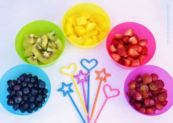 Easy recipe for kids - Rainbow Fruit Skewers with free printable recipe sheet - great healthy party food picnics and healthy snacks at home