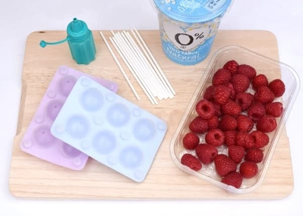 Fruity Frozen Yoghurt Pops - fun and easy homemade ice pops with a fruity surprise in the middle - healthy snack idea for kids from Eats Amazing UK - supplies needed