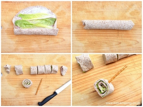 Fun and healthy kids party food idea - tortilla roll-up lollipops with edible sticks from Eats Amazing UK - how to part 2