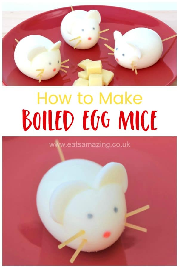 How to make cute and easy boiled egg mice - healthy fun food idea for kids that is perfect for Easter - with video tutorial #EatsAmazing #EasterFood #easteregg #Kidsfood #FoodArt #FunFood #healthykids #eggs #cutefood #boiledeggs
