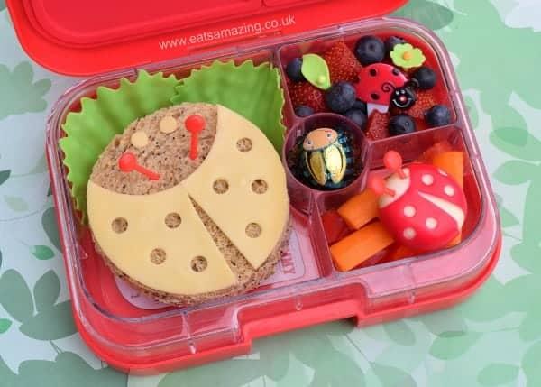 Ladybug Bento Lunch from Eats Amazing with easy ladybug sandwich - healthy fun food for kids from Eats Amazing UK