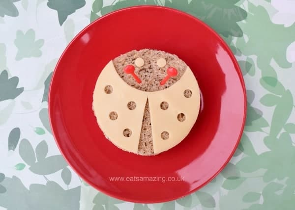 Ladybug Sandwich idea tutorial from Eats Amazing UK - fun healthy food for kids