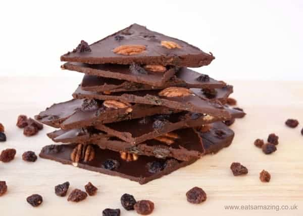 Quick and easy dairy free chocolate bark recipe - make this yummy coconut oil chocolate in minutes - fun cooking project for kids - vegan gluten free no refined sugar