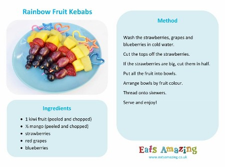 Rainbow Fruit Kebabs Recipe - Free printable easy recipe for kids - fun healthy food idea
