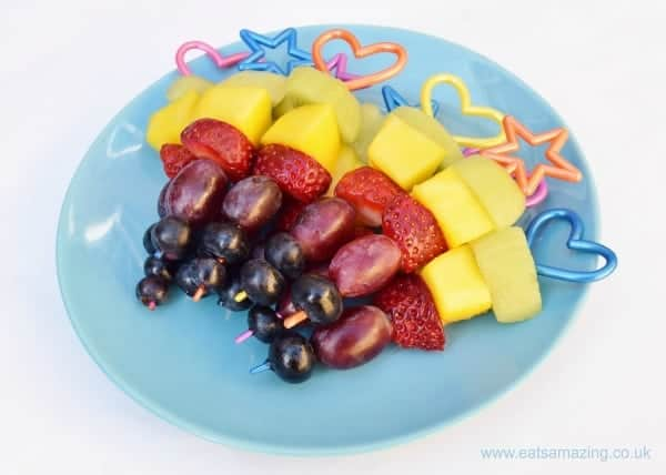 Rainbow Fruit Skewers - Easy recipe for kids with free printable recipe sheet - perfect for party food picnics and healthy snacks at home