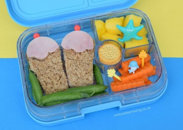 Beach themed summer bento lunch for kids from Eats Amazing UK - Healthy fun food for kids - lunch made in the Yumbox Panino bento box
