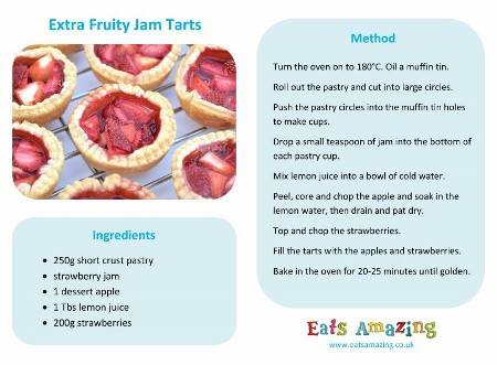 Easy Recipes for Kids - Extra Fruity Jam Tarts Recipe with free printable recipe sheet to download from Eats Amazing UK