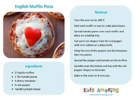 English Muffin Pizza recipe - easy recipe for kids from Eats Amazing UK - with free printable recipe sheet so kids can follow the receipe themselves