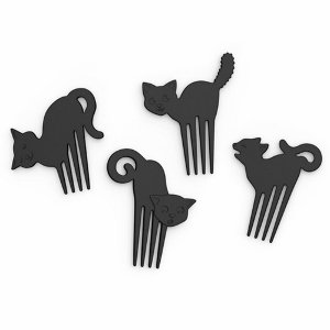 Fred Meow cat picks in the Eats Amazing Shop - Bento boxes and bento accessories UK - fun black cat food picks for parties and bento boxes