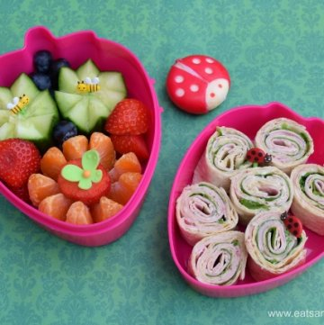 Garden themed bento lunch with tortilla wrap spirals from Eats Amazing UK - fun packed lunch idea for kids