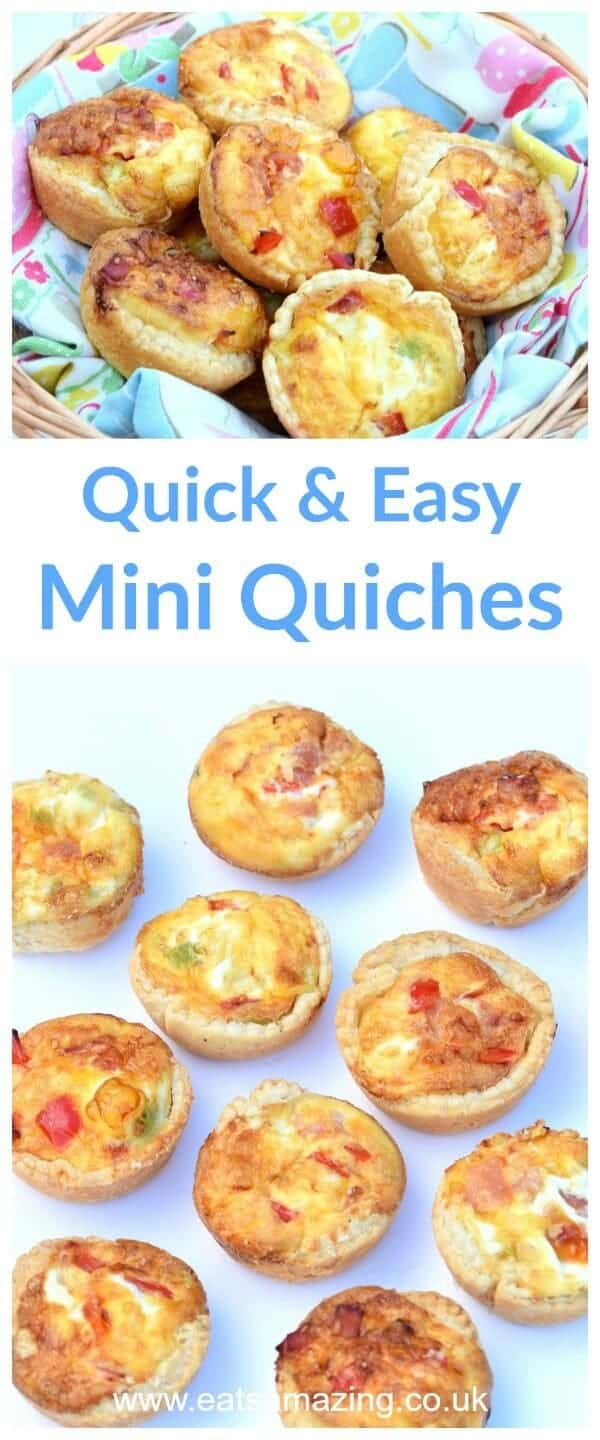 Super quick and easy mini quiches recipe - fun cooking project for kids - great for lunch boxes and picnics - Eats Amazing UK #kidsfood #cookingwithkids #easyrecipe #quiche #picnics #picnicfood #pastry #lunchbox #lunchideas