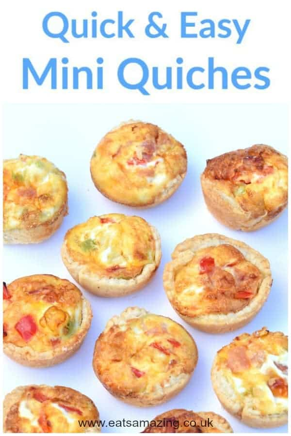 This super quick and easy mini quiches recipe makes a fun cooking project for kids and these bite-sized quiches are great for lunch boxes and summer picnic food! #kidsfood #cookingwithkids #easyrecipe #summerfood #quiche #picnics #picnicfood #pastry #lunchbox #lunchideas #snacks