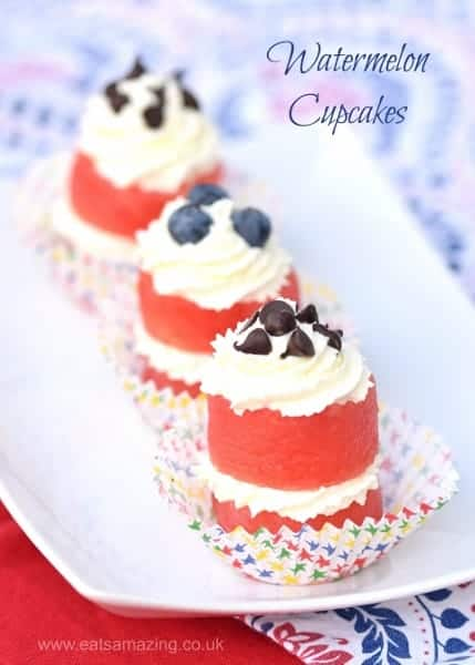 Watermelon Cupcakes Recipe from Eats Amazing UK - Cute kids food - perfect dessert for a summer party or BBQ