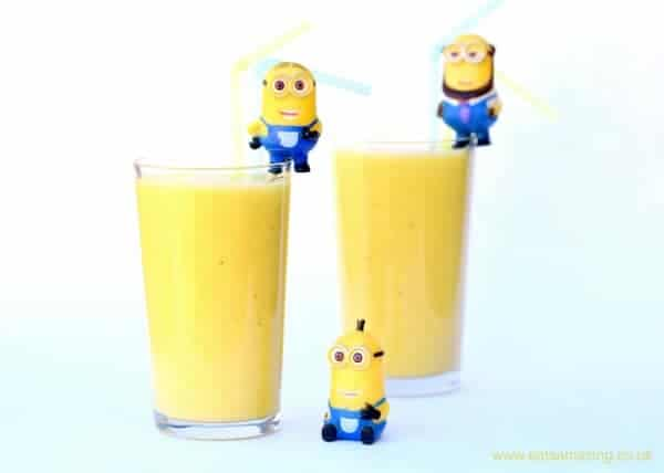 healthy and fun minion themed fruit smoothie recipe with a secret hidden vegetable from Eats Amazing UK - healthy fun food for kids