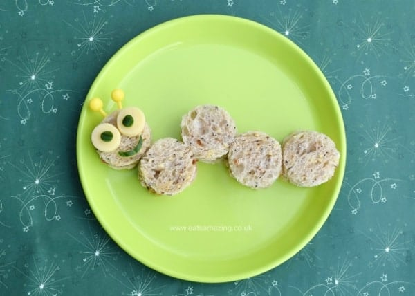 Cute and healthy caterpillar sandwich idea from Eats Amazing UK - great for a kids snack or fun lunch. Check out the post for lots more fun garden themed sandwich ideas!