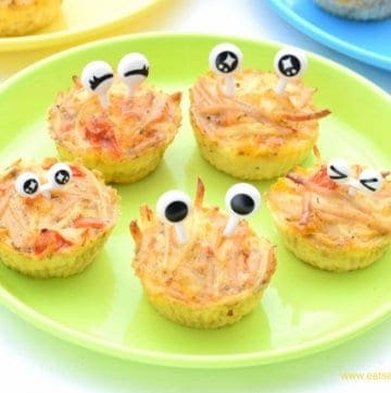 Great recipe to use up leftover spaghetti - make these fun monster spaghetti frittata bites recipe - cute food for kids with zero waste from Eats Amazing UK