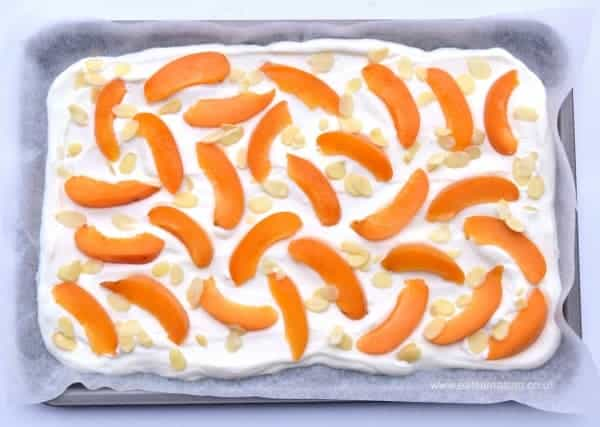 Greek Inspired healthy frozen yoghurt bark recipe with apricots from Eats Amazing UK - free from refined sugar