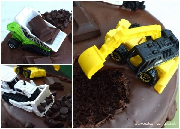 How to make an easy digger cake - this is the easiest kids birthday cake to decorate ever - my boys loved it! from Eats Amazing UK