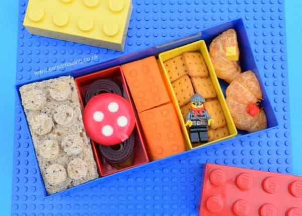 Quick and easy lego bento lunch idea made in the lego lunch box - fun and healthy kids lunch idea from Eats Amazing UK -great for back to school