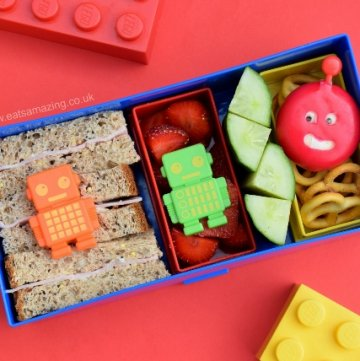 Quick and easy robot bento lunch made in the lego lunch box - fun and healthy kids lunch idea from Eats Amazing UK -great for back to school