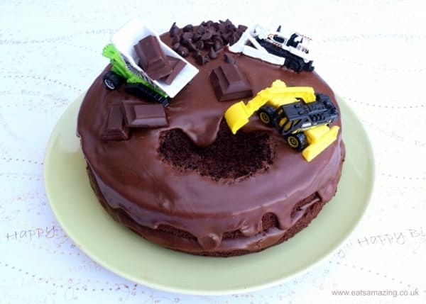 Really easy digger cake for kids - this is the easiest birthday cake to decorate ever - my boys loved it! from Eats Amazing UK