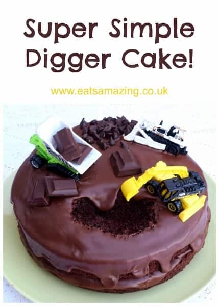 Really easy digger cake tutorial - this is the easiest kids birthday cake to decorate ever - my boys loved it! from Eats Amazing UK