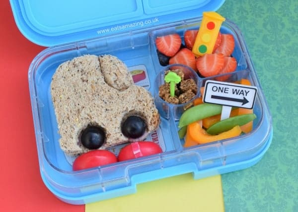Simple Car Bento Lunch for Kids with the Yumbox UK bento box and Lunch Punch sandwich cutter - from Eats Amazing UK - fun healthy food for kids