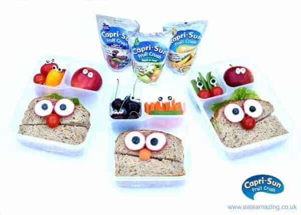 7 minute easy Funny Face Packed Lunches idea for several children from Eats Amazing UK - with Capri Sun Fruit Crush