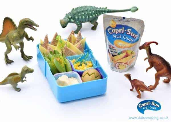 Dinosaur themed packed bento lunch - healthy kids lunch idea from Eats Amazing UK