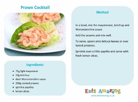 Easy Prawn Cocktail recipe - free printable child friendly recipe sheet - easy recipe for kids from Eats Amazing UK