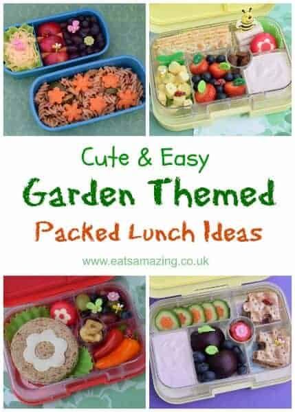 Easy healthy packed lunch ideas for kids - all with a garden theme from Eats Amazing UK - fun and healthy bento box ideas and fun food for kids