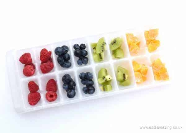 Easy rainbow fruit ice cubes recipe from Eats Amazing UK - fun way to make kids water fun
