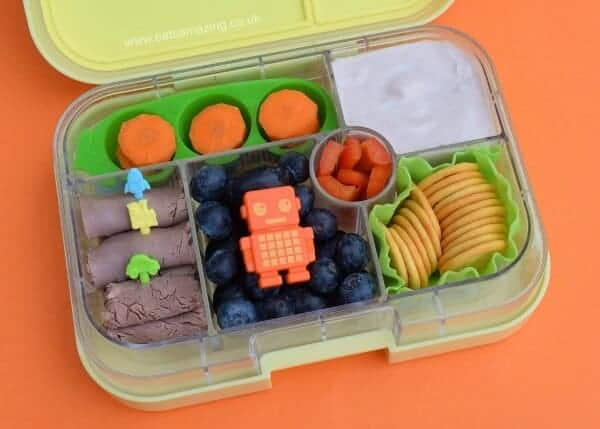Fun and easy bento lunch idea for kids in the Yumbox UK bento box from Eats Amazing UK