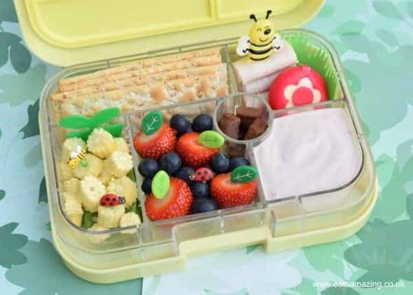 Garden bento lunch in the Yumbox UK bento box - fun packed lunch ideas for kids