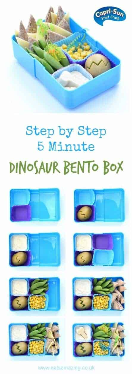How to make a dinosaur themed packed lunch in just 5 minutes – healthy kids lunch idea from Eats Amazing UK