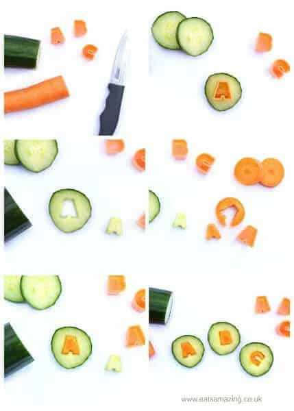 How to make a fun kids back to school packed lunch with cute alphabet cucumber slices - step by step fun food tutorial from Eats Amazing UK