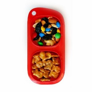 Red Goodbyn Snacks from Eats Amazing UK - BPA Free Divided Snack Container - Snack Pot