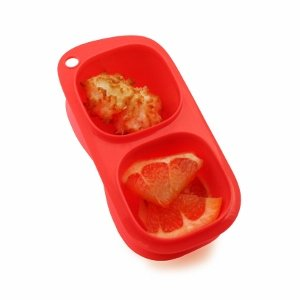 Red Goodbyn Snacks from the Eats Amazing Bento UK Shop - BPA free snack container with comparments - Snack pot for kids