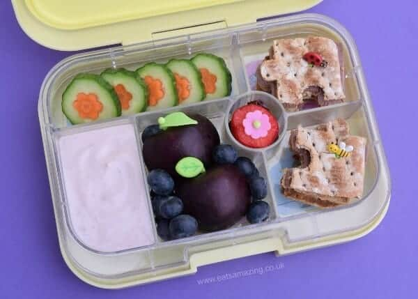 Simple garden bento lunch in the Yumbox UK bento box - fun packed lunch ideas for kids from Eats Amazing UK