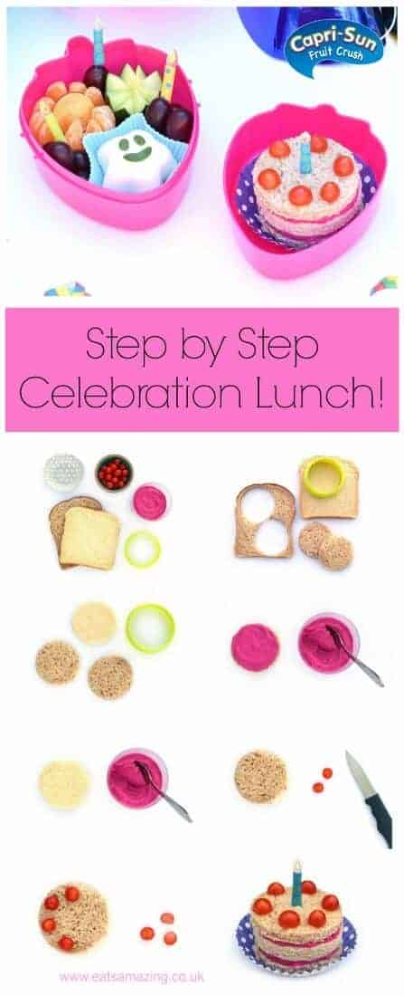 Step by step instructions to make a fun kids birthday lunch – cute and healthy school lunch idea from Eats Amazing UK