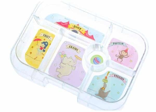 Yumbox UK bento box review from Eats Amazing UK - kids lunchbox with compartments - removable tray showing the food groups
