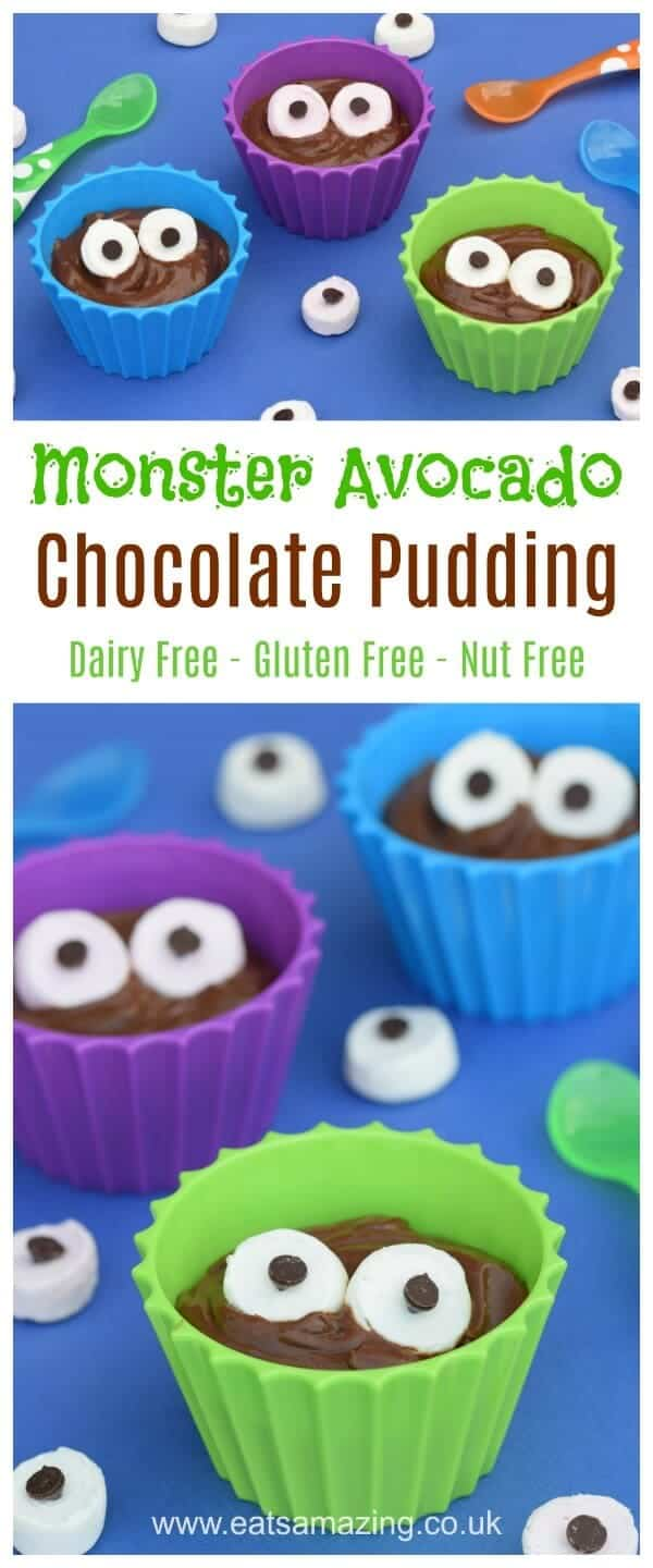 Fun and Easy Monster Avocado Chocolate Pudding Recipe - This hidden veggies recipe is nut free dairy free and gluten free - fun food for kids from Eats Amazing UK