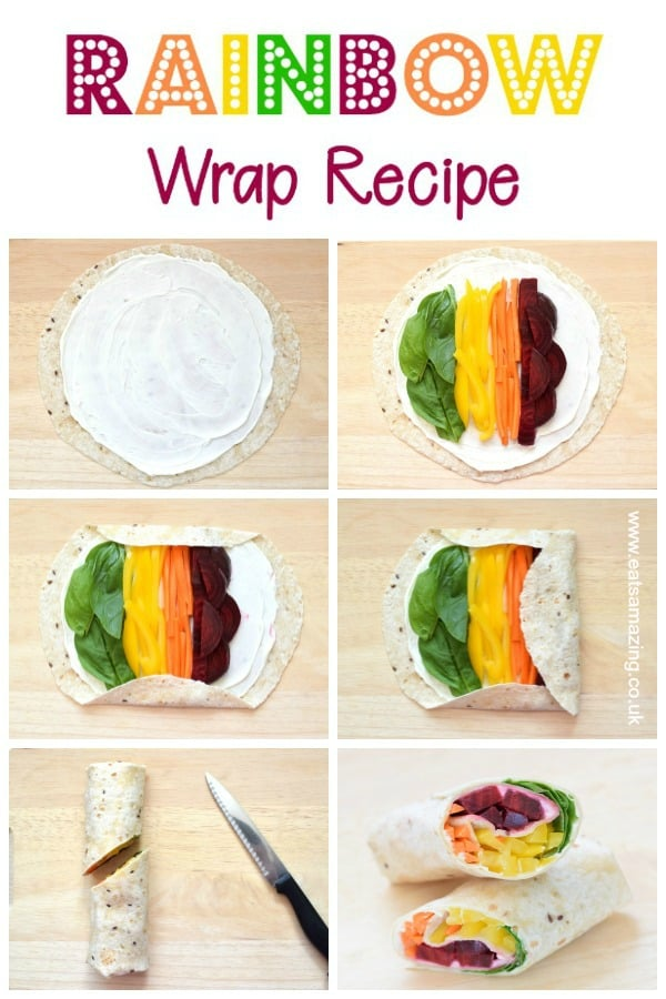 How to make a rainbow wrap - this step by step rainbow tortilla wrap recipe is a great healthy fun food idea for kids packed lunches and bento boxes #rainbow #rainbowfood #kidsfood #lunchideas #schoollunch #packedlunch #healthykids #tortilla #wraps #bento #funfood #vegetarianrecipes