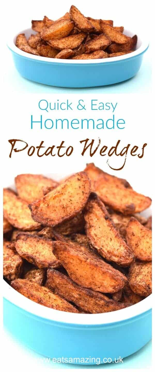 Quick and easy homemade potato wedges recipe - easy recipe for kids from Eats Amazing UK #easyrecipe #potatoes #wedges #cookingwithkids #familyfood #kidsfood #sidedish #recipe #kidsinthekitchen