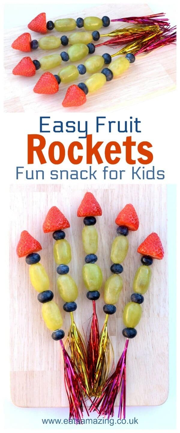 Easy Fruit Rockets - Fun snack for kids - perfect for New Year parties and bonfire night - Eats Amazing UK