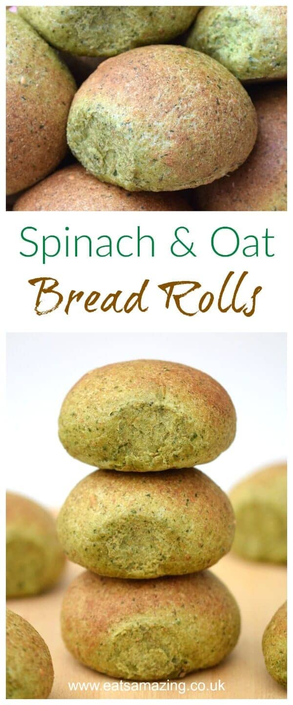 Easy homemade spinach and oat bread rolls recipe - these yummy and fun green bread rolls are full of healthy ingredients - Eats Amazing UK #bread #breadbakers #breadrecipe #recipe #homemade #spinach #oats #greenfood #funfood #kidsfood #healthykids