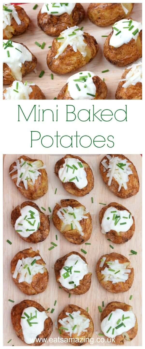 Easy mini baked potatoes recipe with sour cream and chives - great festive party food idea or finger food appetizer from Eats Amazing UK #partyfood #potatoes #fingerfood #Christmasfood #christmasparty #minifood #easyrecipe #bonfirenight