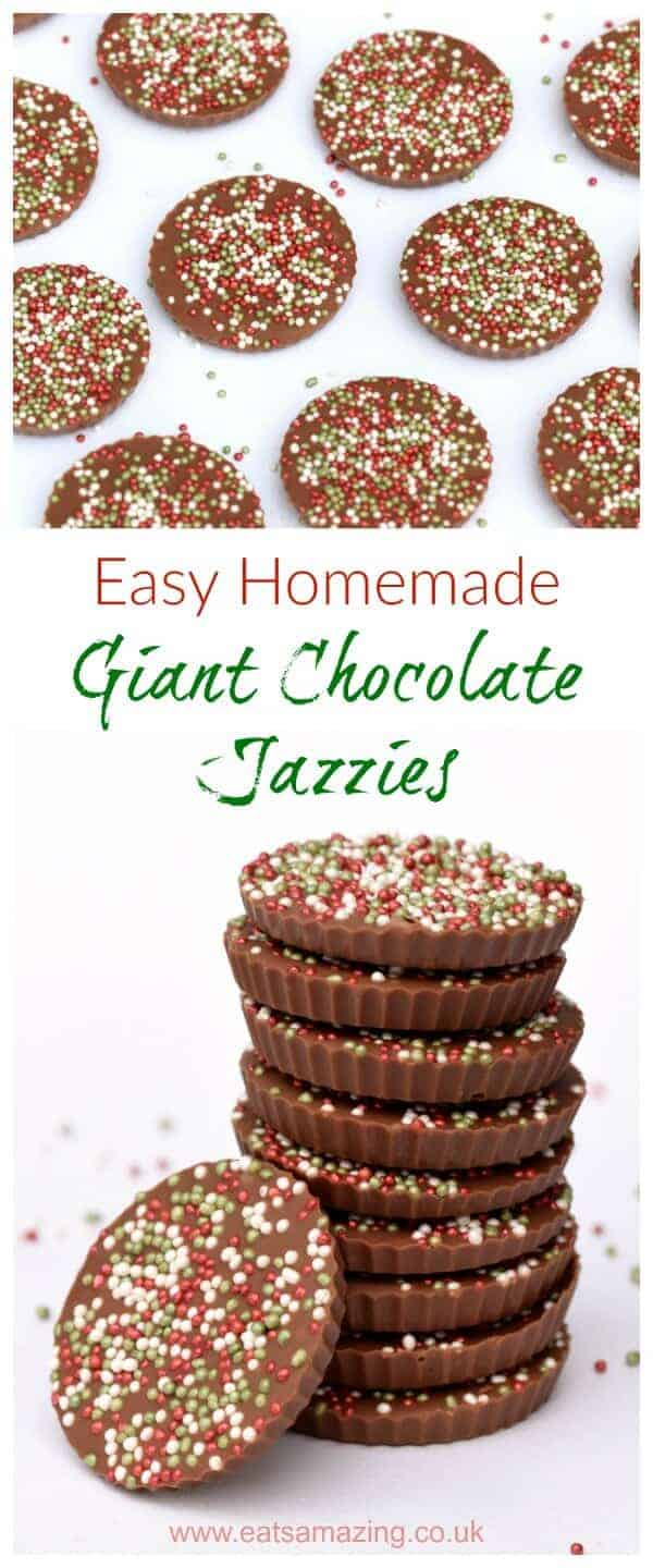Really easy giant chocolate jazzies recipe - these fun giant chocolate buttons are a great gift idea for kids to make for Christmas - Eats Amazing UK #Christmas #christmasgifts #christmasgiftideas #chocolate #treats #sprinkles #cookingwithkids #easyrecipe #funfood #festivefood