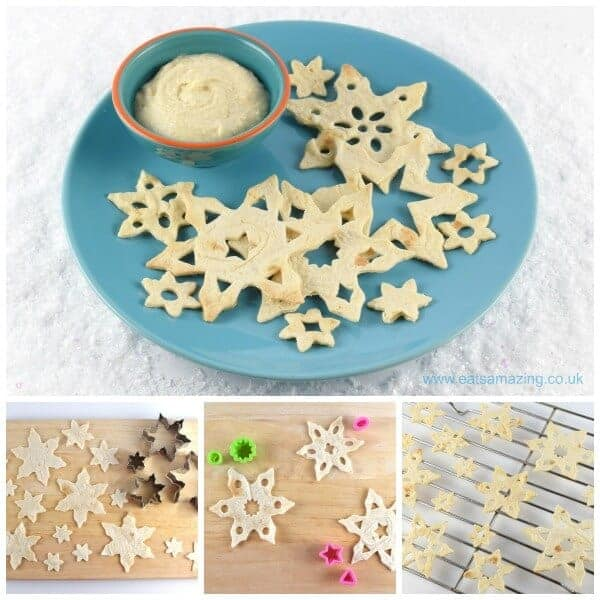 How to make snowflake shaped tortilla crisps - healthy and fun Christmas food for kids from Eats Amazing UK